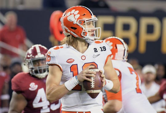 Jan 7, 2019; Santa Clara, CA, USA; Clemson Tigers quarterback Trevor Lawrence (16) passes against the Alabama Crimson Tide in the second quarter during the 2019 College Football Playoff Championship game at Levi's Stadium.