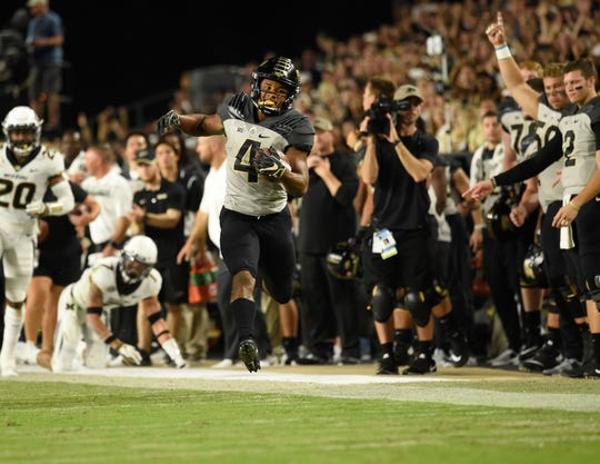 Sep 15, 2018; West Lafayette, IN, USA;Purdue Boilermakers wide receiver Rondale Moore (4) in the first half  at Ross-Ade Stadium.