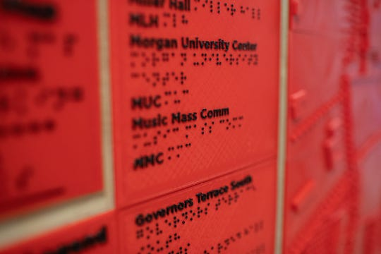 Austin Peay student Michael Hunter taught himself Braille to build the map and its legend.