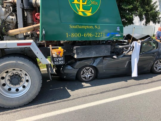 A Trenton man was critically injured July 19 when his vehicle struck a cement mixer truck from behind on Route 1 near Raymond Road in South Brunswick with such force the vehicle became lodged under the rear of the cement truck.
