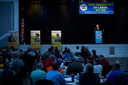Ken Sagar, Iowa Federation of Labor, AFL-CIO president, speaks at the Iowa Federation of Labor, AFL-CIO's annual convention on Wednesday, Aug. 21, 2019 at Prairie Meadows Hotel in Altoona.