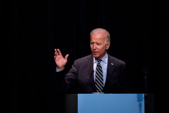 Former Vice President Joe Biden speaks at the Iowa Federation of Labor, AFL-CIO's annual convention on Wednesday, Aug. 21, 2019 at Prairie Meadows Hotel in Altoona.
