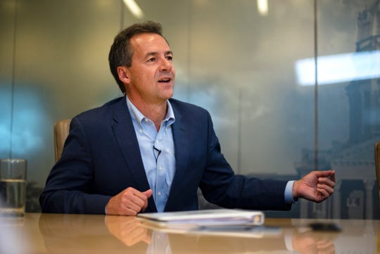 Montana Gov. and 2020 presidential candidate Steve Bullock meets with the Register's editorial board on August 21, 2019 in Des Moines.