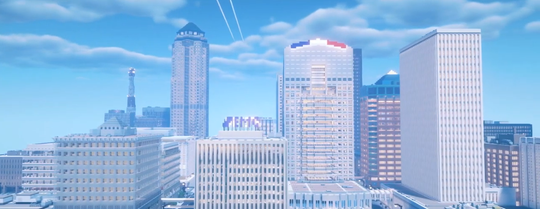 Screenshot from the ProjectDSM Minecraft recreation of downtown Des Moines, Iowa.
