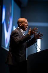 New Jersey Senator and 2020 Democratic presidential candidate Cory Booker speaks during the Iowa Federation of Labor convention sponsored by the Iowa Federation of Labor, AFL-CIO at Prairie Meadows on Wednesday, Aug. 21, 2019 in Altoona.