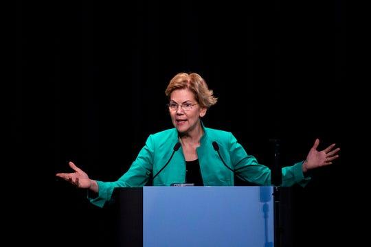 U.S. Sen. Elizabeth Warren, D-Mass., speaks at the Iowa Federation of Labor, AFL-CIO's annual convention on Wednesday, Aug. 21, 2019 at Prairie Meadows Hotel in Altoona.