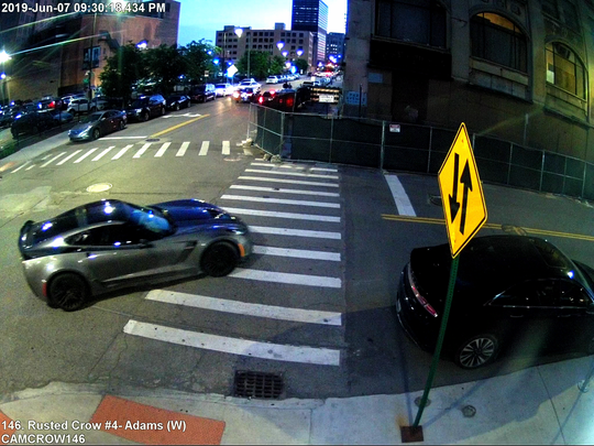 Detroit police are searching for this gray Corvette in connection to a hit-and-run in the area of Elizabeth Street and Park Ave. in Detroit on June 7, 2019.