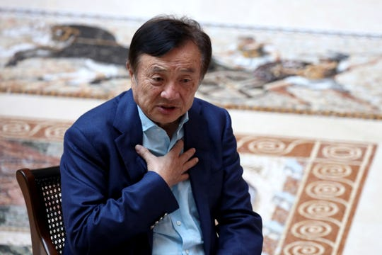 China tech giant Huawei's founder Ren Zhengfei speaks during an interview at the Huawei campus in Shenzhen in Southern China's Guangdong province on Tuesday, Aug. 20, 2019. Ren said he expects no relief from U.S. export curbs due to the political climate in Washington but expresses confidence the company will thrive with its own technology.