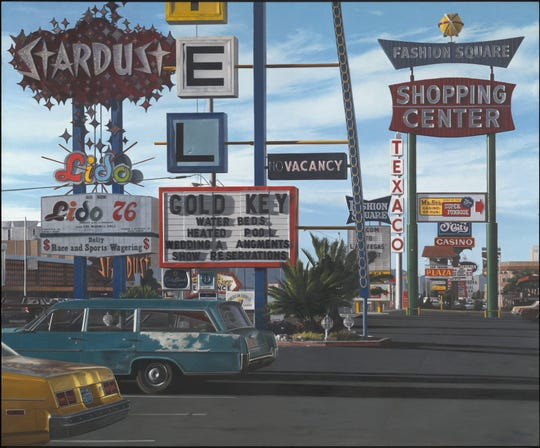 "John Baeder's painting, ""Stardust Motel,"" at the Toledo Museum of Art in ""Life Is a Highway: Art and American Car Culture"""