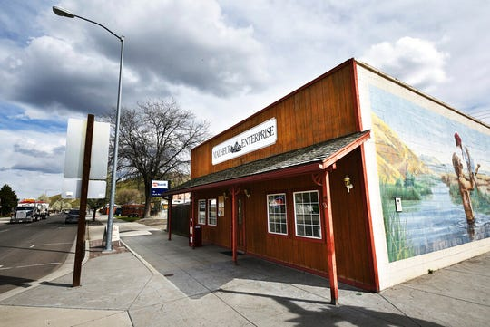 This Monday, April 16, 2018, photo shows The Malheur Enterprise, a small weekly newspaper located in the agricultural town of Vale, east of Ontario, Ore. Journalists in Oregon and beyond have risen in defense of the newspaper that is being investigated by a county sheriff for trying to get comments after business hours for an investigative story. Staffers at the Malheur Enterprise, a weekly newspaper in the remote eastern Oregon town of Vale, say they are just doing their job.
