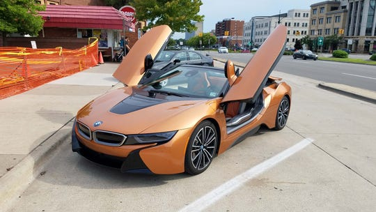 Sweets. The 2019 BMW i8 makes a stop at Woodward's Dairy Mat.