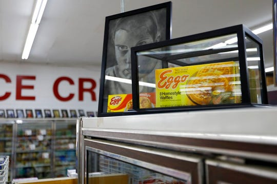 A box of Eggo Homestyle Waffles used as a prop in Netflix's Stranger Things sits atop a refrigerator in Piggly Wiggly grocery store in Palmetto, Ga.