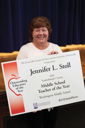 2019 Vanderburgh County Middle School Teacher of the Year, Jennifer Stoll of Washington Middle School.