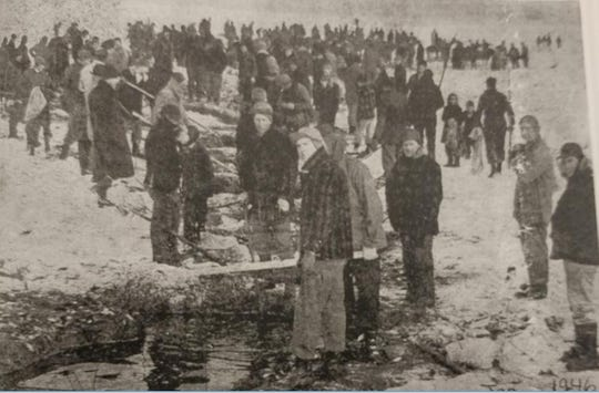 "Ice fishing enthusiasts congregate at Rush Lake in 1946, using nets on poles to scoop out fish, which was allowable back then. The higher oxygen level in this section of the lake drew large numbers of fish to the area. The newsclipping is included in the book: ""Roots and Rushes : Town of Nepeuskun and extras"" by Mitchell and Myrtle Tews."