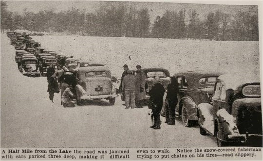 "Ice fishing enthusiasts jam the road to Rush Lake in 1946. The clipping is from the book: ""Roots and Rushes : Town of Nepeuskun and extras,"" by Mitchell and  Myrtle Tews."