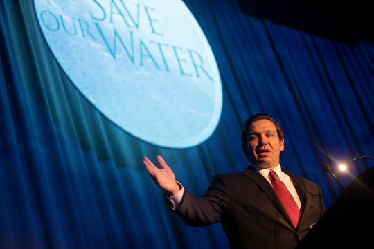 Gov. Ron DeSantis speaks during the News-Press/Naples Daily News Save Our Water Summit on Wednesday at the Hyatt Regency Resort..