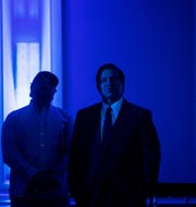 Gov. Ron DeSantis waits to go on stage during the News-Press/ Naples Daily News Save Our Water Summit on Wednesday at the Hyatt Regency Resort..