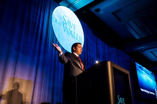 Gov. Ron DeSantis speaks during the Save Our Water Summit on Wednesday at the Hyatt Regency Resort..