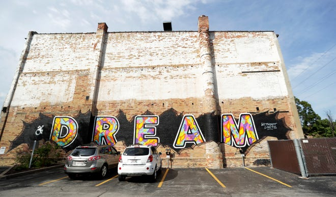 """The """"Dream"""" mural by artist Beau Thomas is located on North Broadway in Green Bay."""