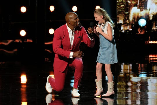 Ansley Burns of Easley with 'America's Got Talent' host Terry Crews.