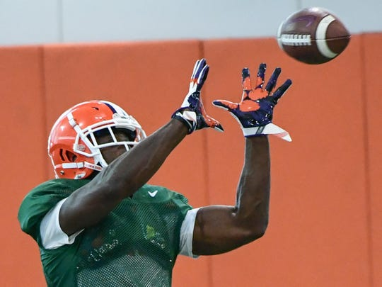 Clemson sophomore Derion Kendrick(1) catches a ball during practice at the Poe Indoor Facility at Clemson Tuesday, August 20, 2019.