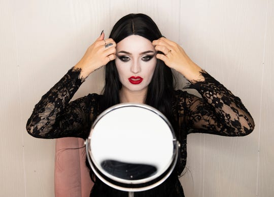 Samantha Snook practices a halloween make-up look Wednesday, August 7, 2019.