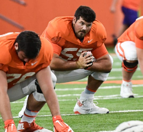 Clemson offensive lineman Hunter Rayburn(55) during practice at the Poe Indoor Facility at Clemson Tuesday, August 20, 2019.