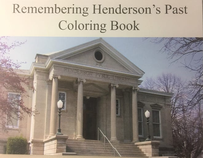 The cover of the history-based coloring book created by the Henderson County Public Library, the Downtown Henderson Partnership and Holy Name School.