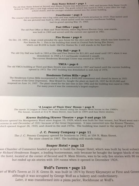 The table of contents for the history-based coloring book created by the Henderson County Public Library, the Downtown Henderson Partnership and Holy Name School. Henderson historian Frank Boyett helped out with the descriptions for the students' work.