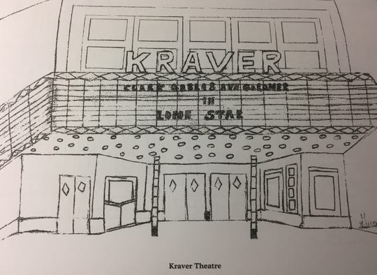 "The Kraver Theatre is one of the drawings included in ""Remembering Henderson's Past Coloring Book."""