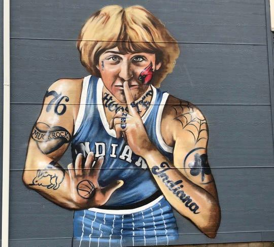 The Larry Bird mural by street artist Jules Muck