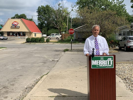 Republican mayoral candidate Jim Merritt outlined a wide-ranging infrastructure plan near the intersection of 10th and Denny streets on Aug. 21, 2019, that covered everything from pothole filling to potential toll roads.