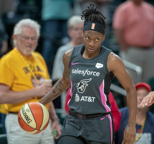 Erica Wheeler of the Indiana Fever, during game action against New York, Bankers Life Fieldhouse, Indianapolis, Tuesday, Aug. 20, 2019. Indiana lost 82-76 and is in a three way tie for ninth place, one position away from playoff eligibility.