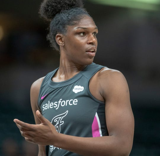 Teaira McCowan of the Indiana Fever during action against New York, Bankers Life Fieldhouse, Indianapolis, Tuesday, Aug. 20, 2019. Indiana lost 82-76 and is in a three way tie for ninth place, one position away from playoff eligibility.
