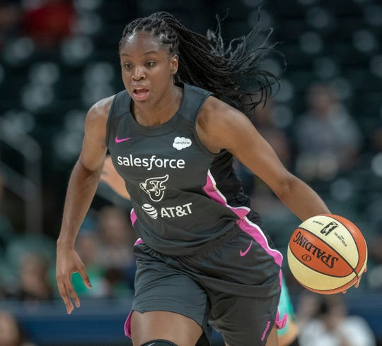 Kennedy Burke of the Indiana Fever brings the ball upcourt after a steal during game action against New York at Bankers Life Fieldhouse, Indianapolis,  Aug. 20, 2019.