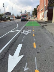 The new two-way, protected bike lane on Illinois Street from Washington Street to 18th Street in Indianapolis.