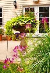 Birdbaths overflowing with blooms help decorate this colorful Coralville backyard.