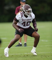 Mississippi State's Erroll Thompson (40). Mississippi State conducted its first practice of the 2019 season on Friday, August 2. Photo by Keith Warren