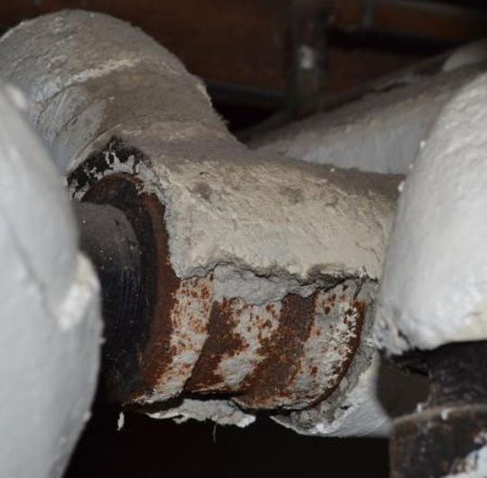 Asbestos pipe wrapping is pictured in this courtesy photo.