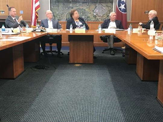 Metropolitan Knoxville Airport Board members listen to a presentation from airport President Patrick Wilson, left, during a meeting Aug. 21, 2019, at McGhee Tyson Airport.