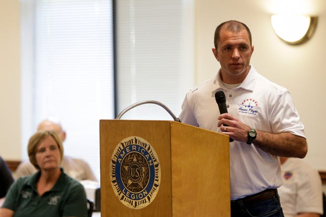 Cyle Newton, Honor Flight of Greater Lafayette board president, speaks during a press conference announcing the creation of a new organization to plan honor flights for veterans, Wednesday, Aug. 21, 2019 at American Legion Post 11 in Lafayette.
