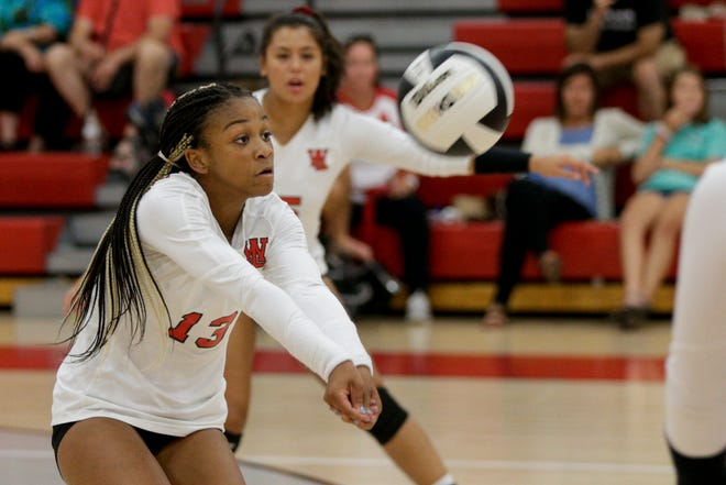 West Lafayette's Rachel Williams (13) hits the ball during the second set of a IHSAA volleyball game, Tuesday, Aug. 20, 2019 at West Lafayette High School in West Lafayette. West Lafayette won, 25-9, 25-10 and 25-2.