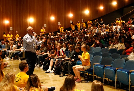 Lancaster High School Principal Scott Burre talks to members of the school's freshman class Wednesday morning, Aug. 21, 2019, in Lancaster at the beginning of Frosh Fest.