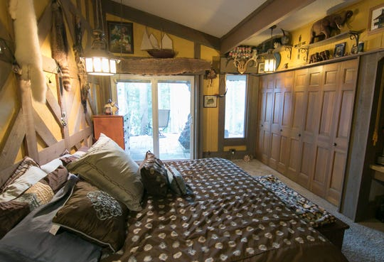 A bedroom in a home on Lake Shannon, shown Wednesday, Aug. 21, 2019, reflects the lifestyle of the homeowner.