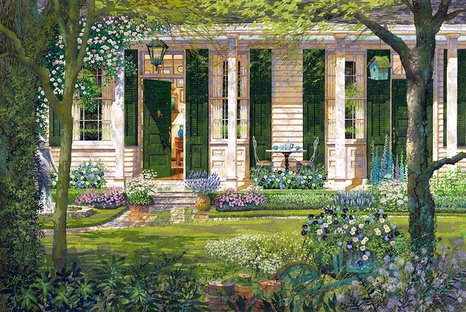 """St. James Art Show 2019 Offical Poster """"Saturday Morning Coffee at 1418 St. James Court.""""  By artist Mark D. Bird"""