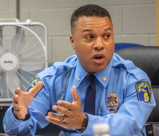 Lansing police Chief Daryl Green, shown here delivering a report to the Board of Police Commissioners on Tuesday, August 20, 2019.