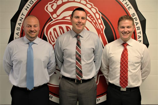 Pleasant Local Schools welcomed three new principals for the 2019-20 academic year. Travis Issler, left, is the new principal at Pleasant Elementary School. Steven Ringer, center, is the new principal of Pleasant High School. Michael Malcolm, right, is the new principal at Pleasant Middle School.