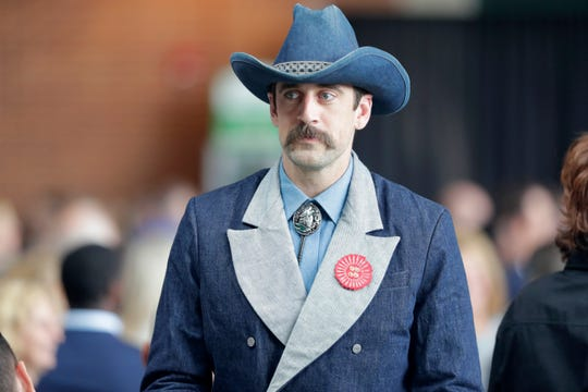Packers quarterback Aaron Rodgers wears a lot of denim for the team's luncheon in 2018.