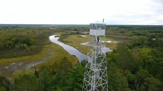The St. Croix River is visible beyond the Gordon Fire Tower in Douglas County.