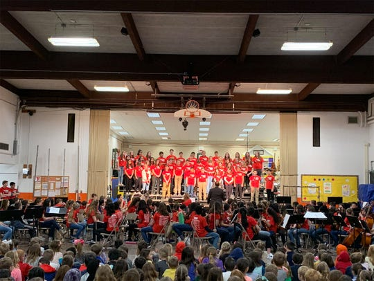 The Elmbrook School District will spend $4.5 million to build a new gymnasium at Tonawanda Elementary School to replace the existing one, shown here during a March 2019 concert. The district will also undertake a $2.8 million project to upgrade the school's HVAC system.